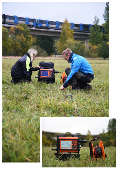 Seismograph measuring seismics, MASW, reflection survey, or cross-borehole testing.