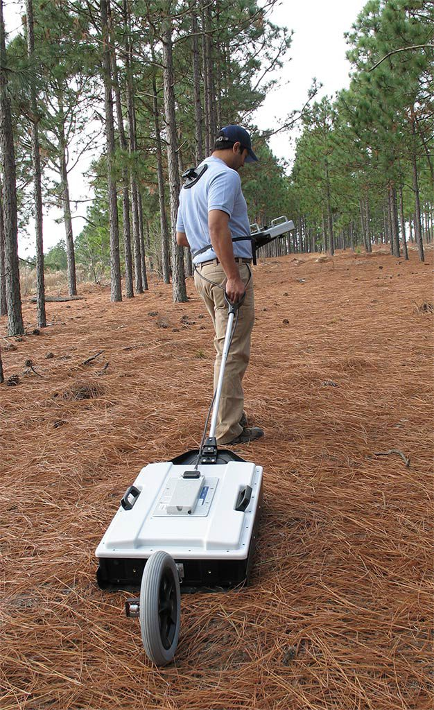 Man conducting GPR-survey with GPR MALÅ GX